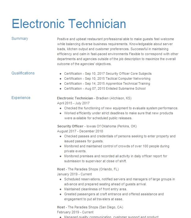 Electronic Technician Resume Sample Electronics Resumes