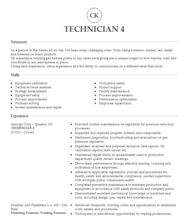 network communications technician 4 resume example comcast