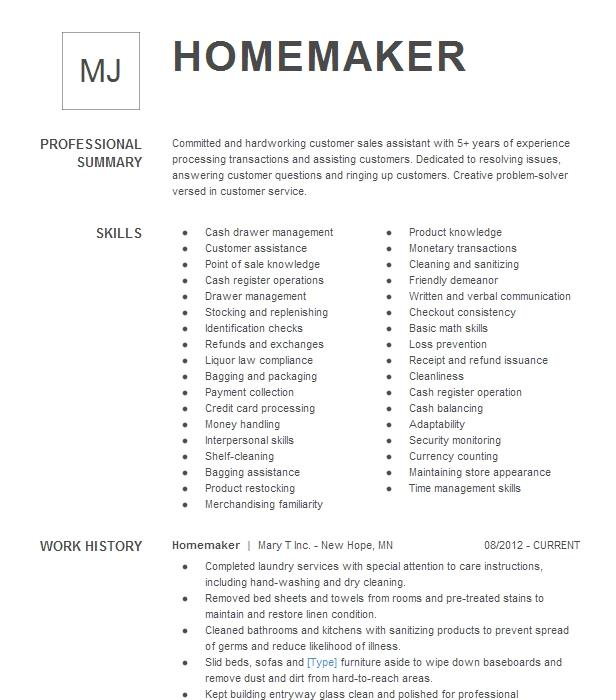 homemaker resume example stay at home dad