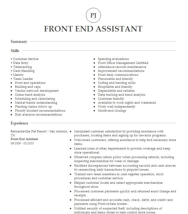 front end assistant resume example costco