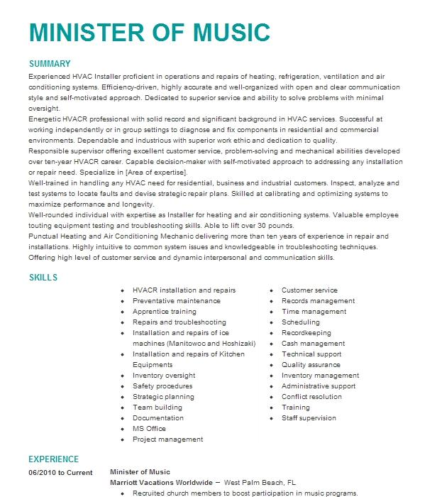 minister of music resume example bethel a m e  church