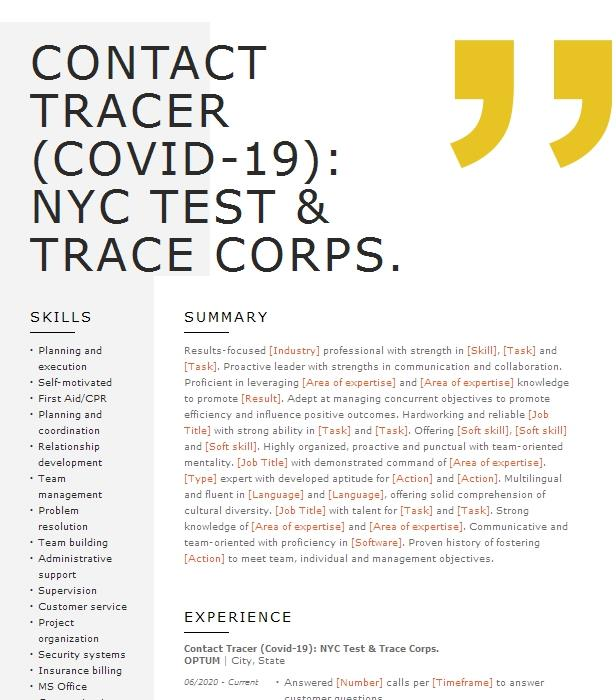 contact tracer resume example oklahoma national guard