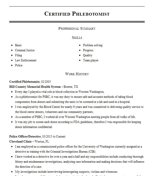 certified phlebotomist resume example john t mather