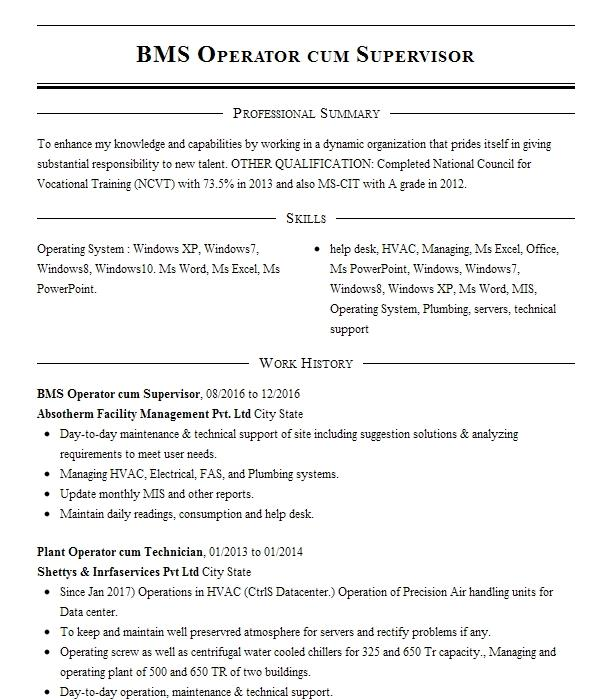 bms technician resume example bae systems