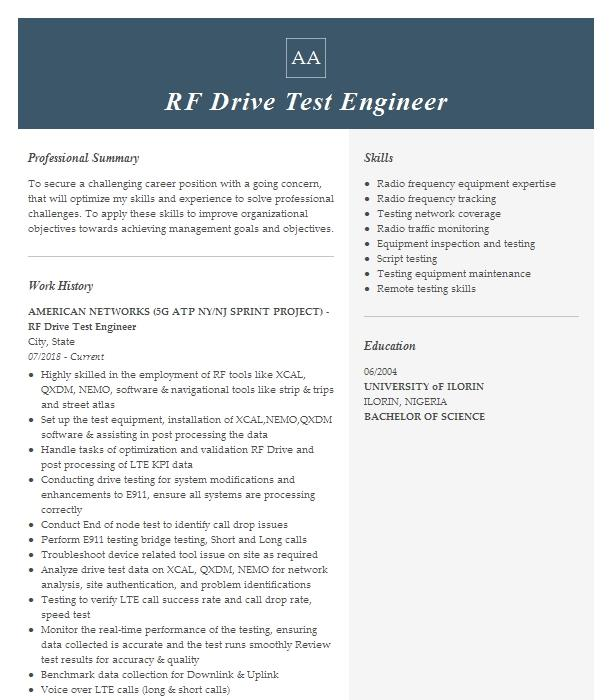 drive test engineer resume example sublime wireless