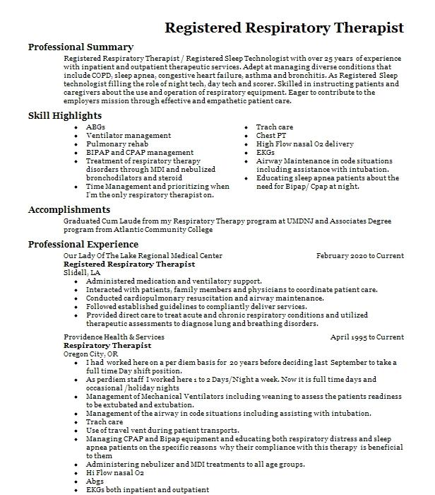 respiratory therapist rrt rcp resume example the medical