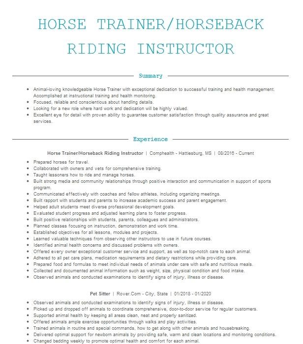 certified therapeutic riding instructor resume example