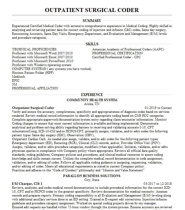 outpatient coder resume example kaiser    permanente