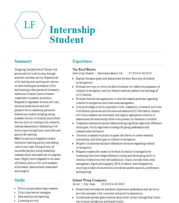Internship Student Resume Example Mega Interior Design