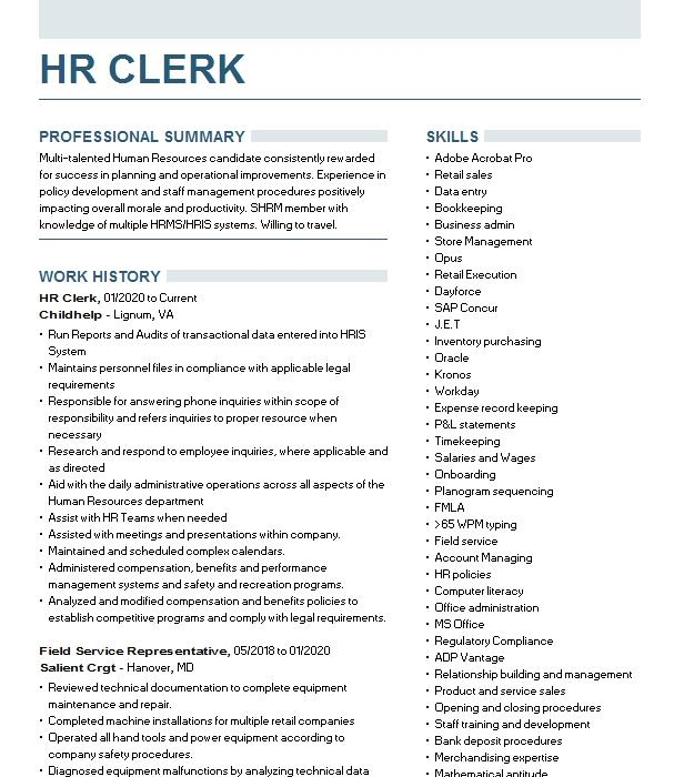 hr clerk resume example tenneco