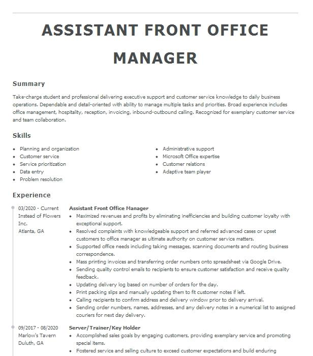 Resume for front office manager hotels cheap report proofreading services for phd