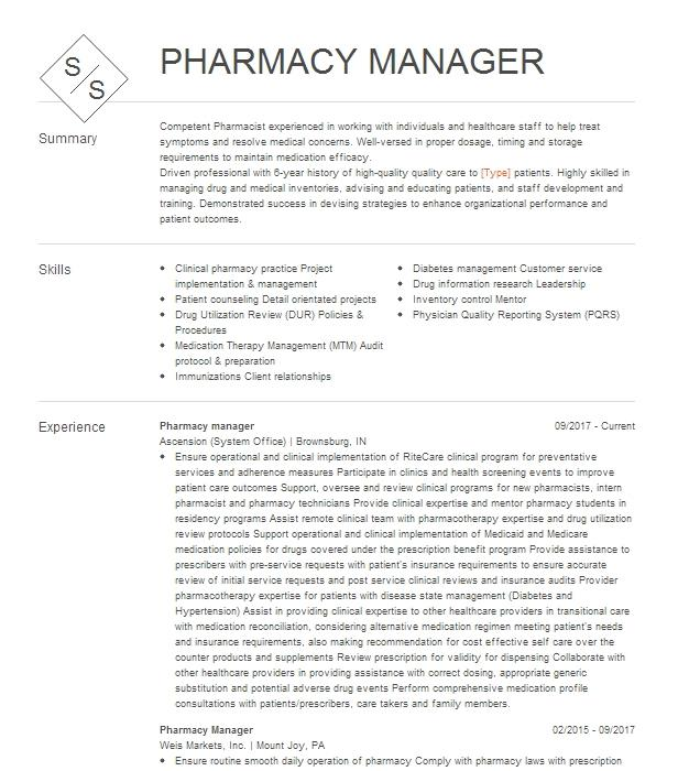 Pharmacy Manager Resume Example Walgreens