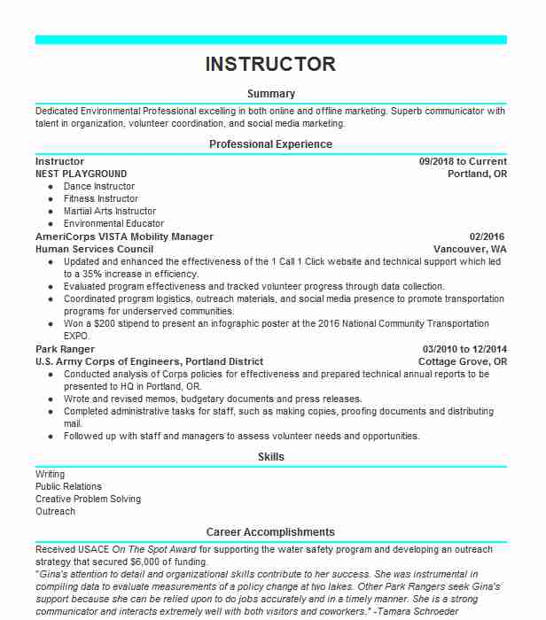 Eye-Grabbing Instructor Resumes Samples | LiveCareer