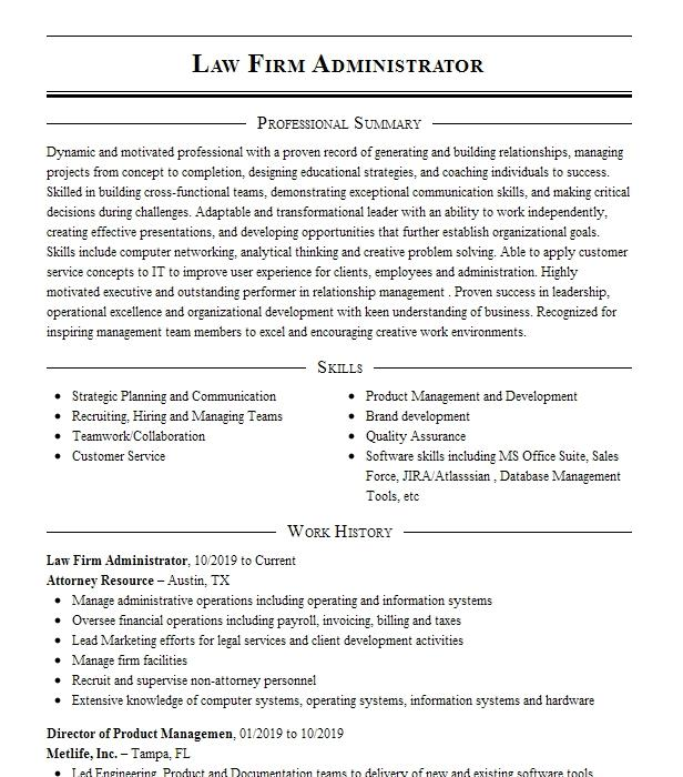 law firm operations manager resume example defense service