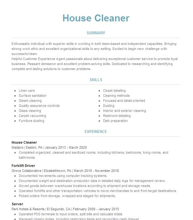 House Cleaner Resume Example Self Employed - Church Hill ...