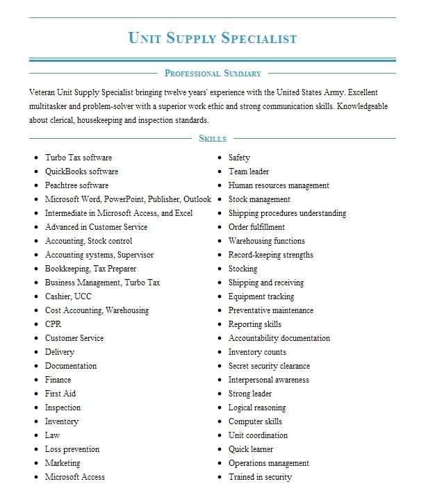 Unit Supply Specialist Resume Example United States Army