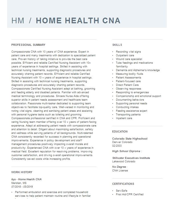 Cna home health care resume examples buy leadership dissertation abstract