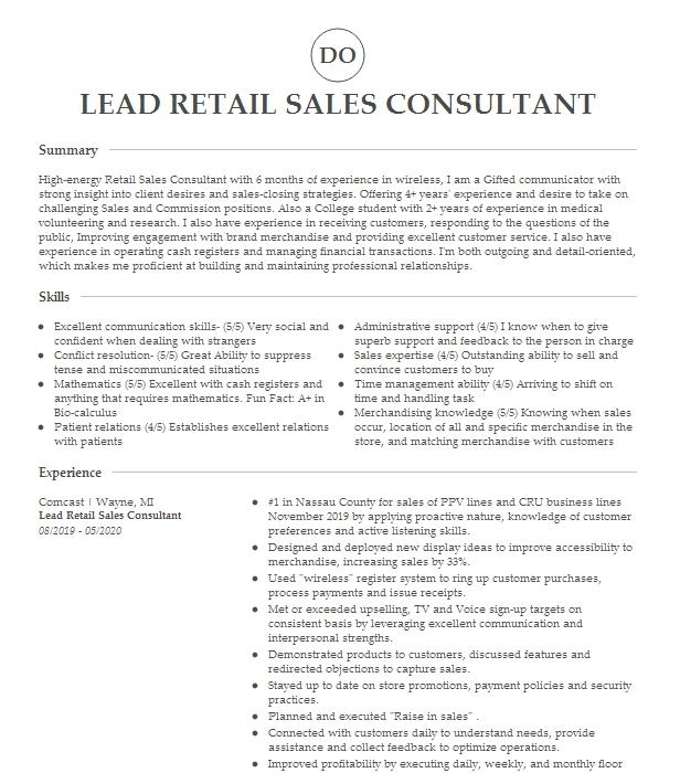 Retail Sales Consultant Rsc Resume Example At T Wireless Milton Delaware