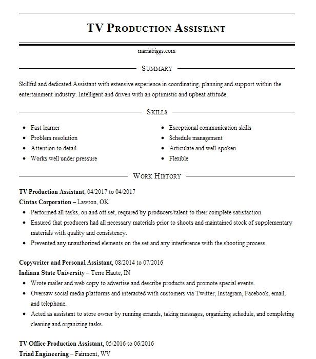 tv production assistant resume sample