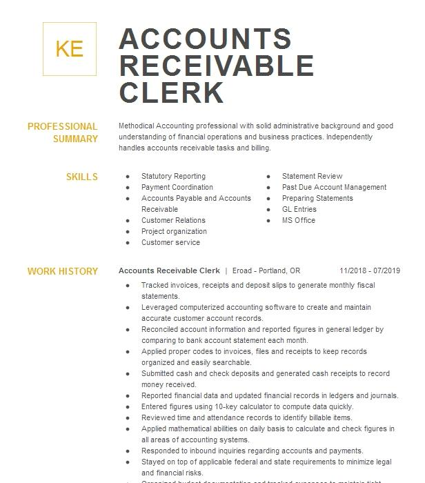best accounts receivable clerk resume example