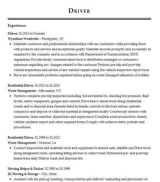 Driver Resume Example Uber