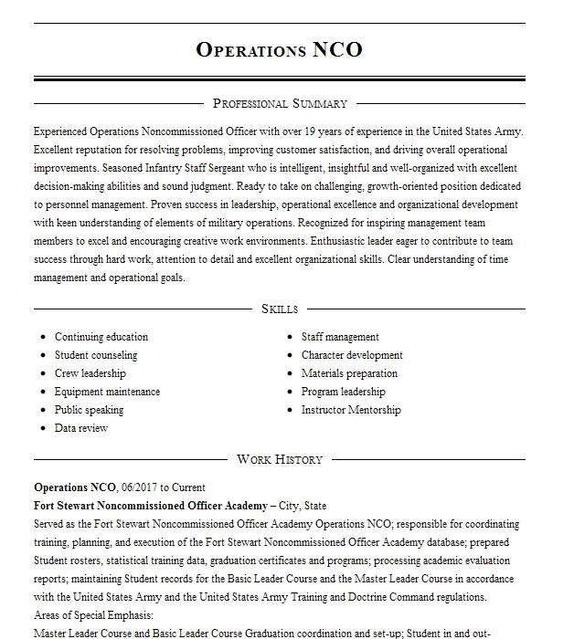 Assistant Operations Non Commissioned Officer Nco