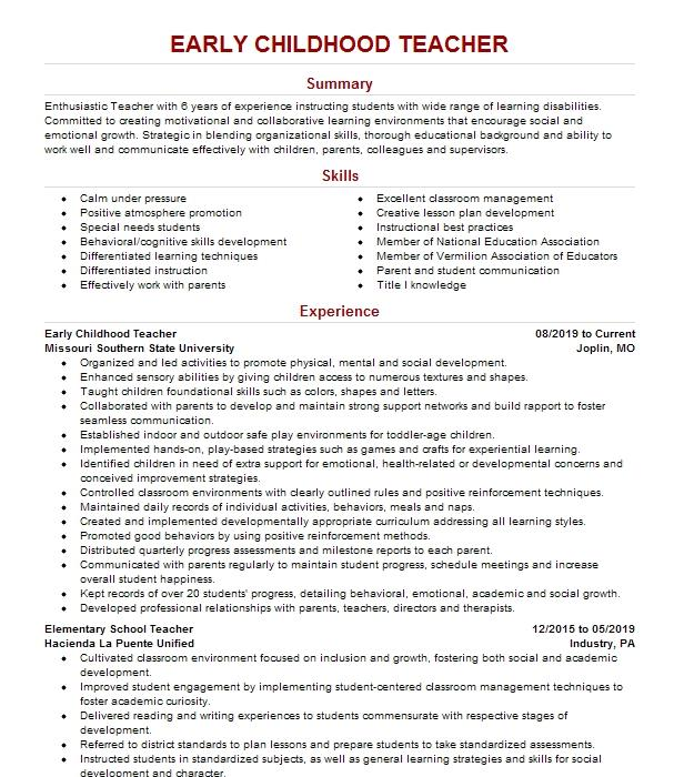 early childhood education resume examples