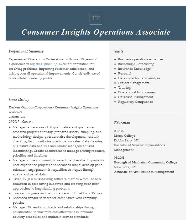associate director  consumer insights resume example mead