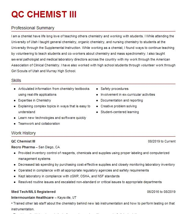 Qc Chemist Resume Example Dow Chemical Company Columbia South