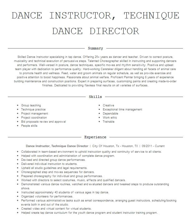 beginners dance class resume example company name