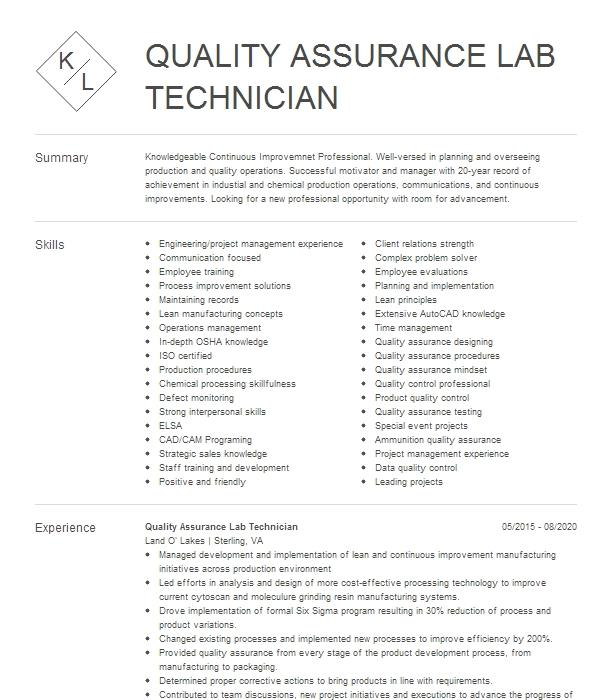 Quality Assurance Lab Technician Resume Example Exide Technologies