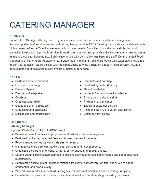 Catering Manager Resume Example Manager Resumes Livecareer