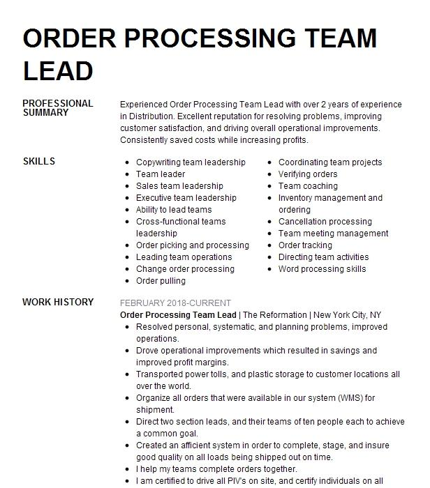 Order Processing Specialist Resume Example Foster Electric