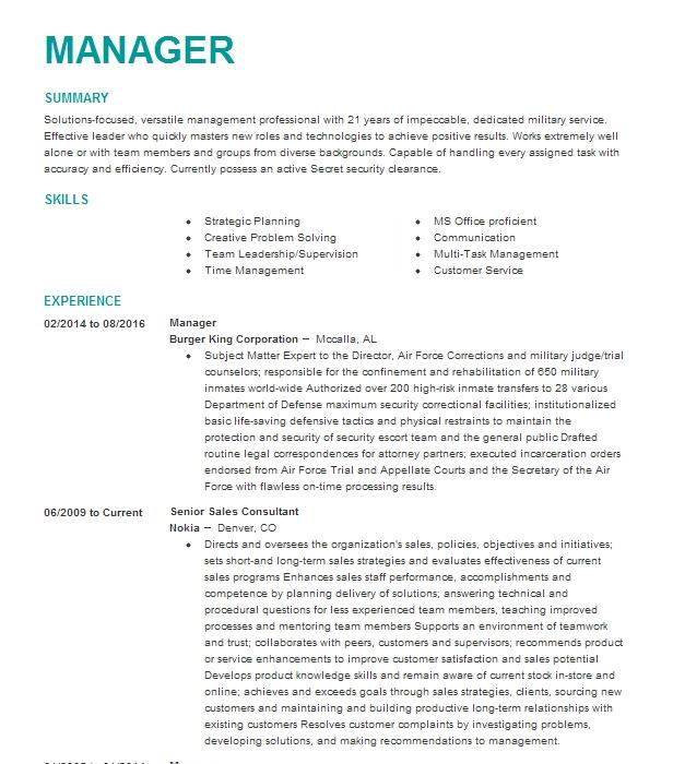 Eye-Grabbing Manager Resume Samples | LiveCareer
