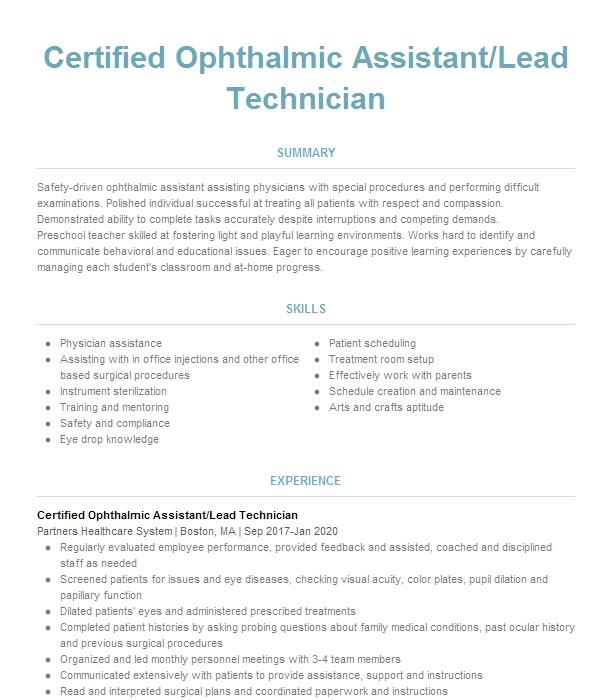 certified ophthalmic technician resume example houston eye