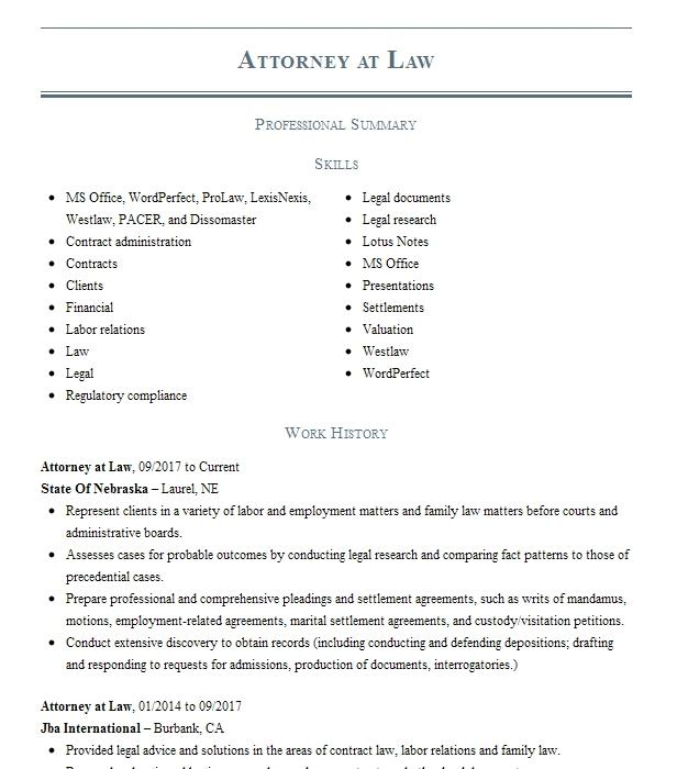 attorney at law resume example law office of monique r