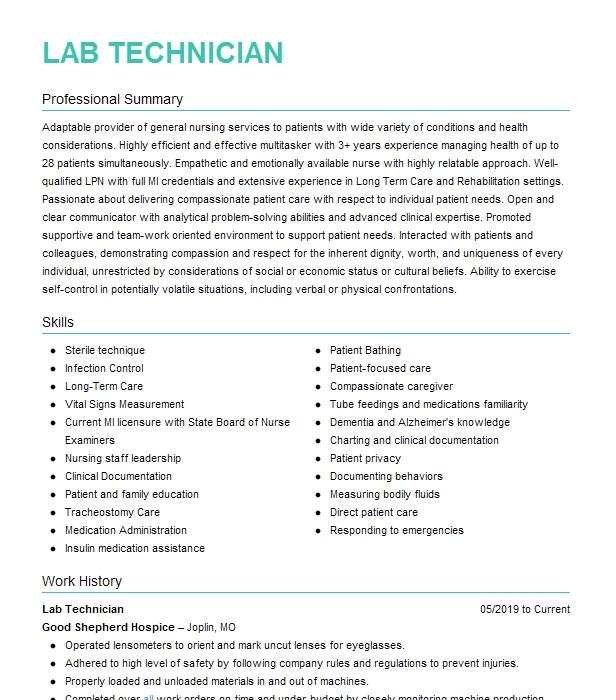 lab technician resume example soil  water  plant testing