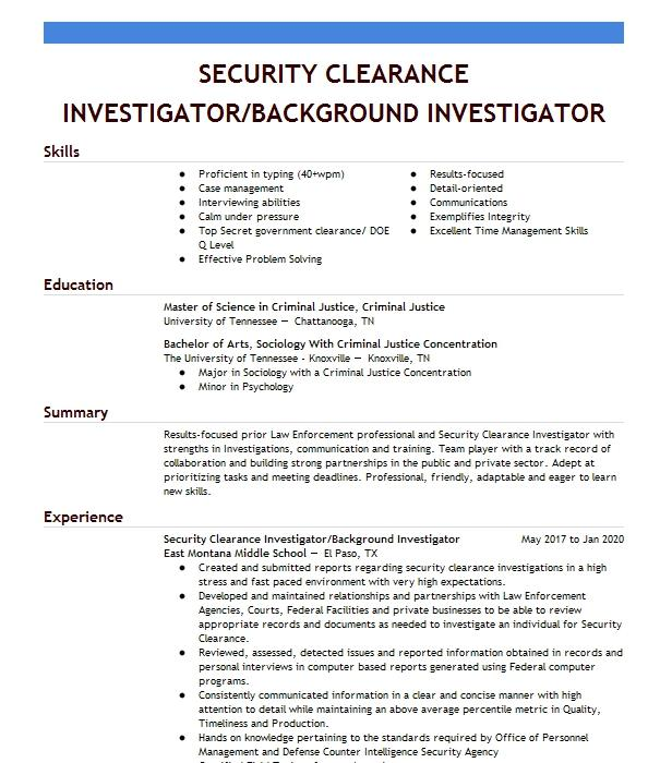 Resume clearance professional references on a resume