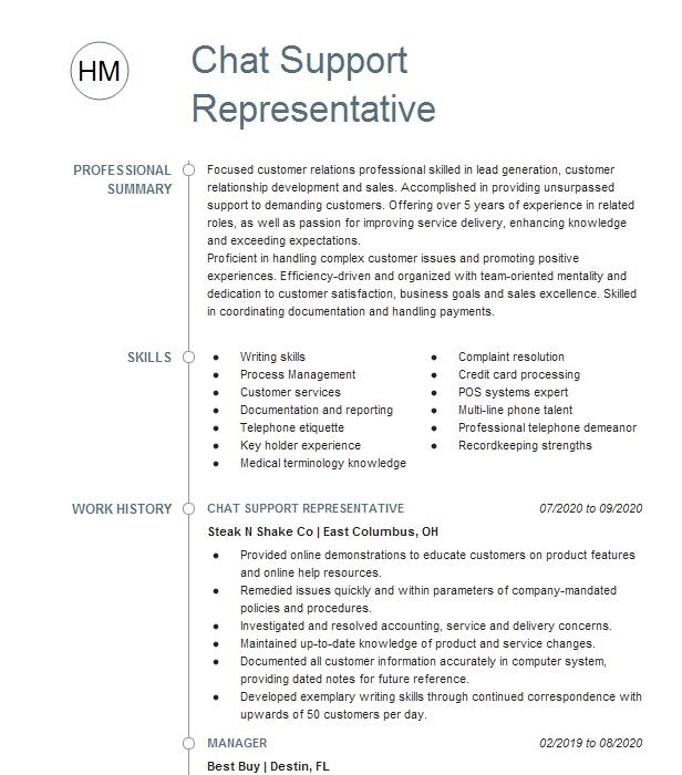 chat support representative resume example talk2rep