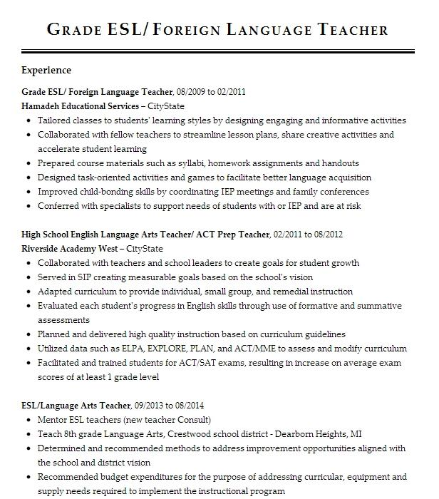 Head English Teacher Amp Foreign Representative Resume Example