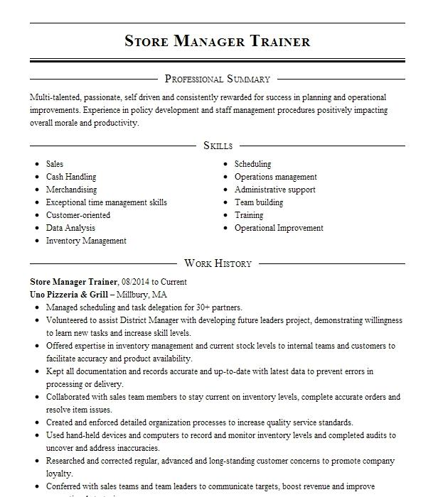 assist store manager  install sales manager  trainer resume