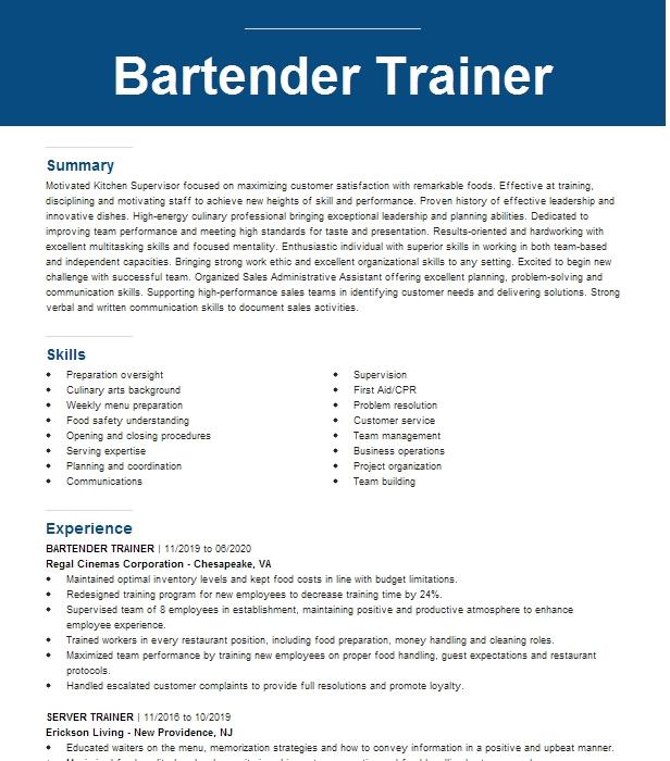 Server/Bartender Trainer Resume Example Buffalo Wild Wings