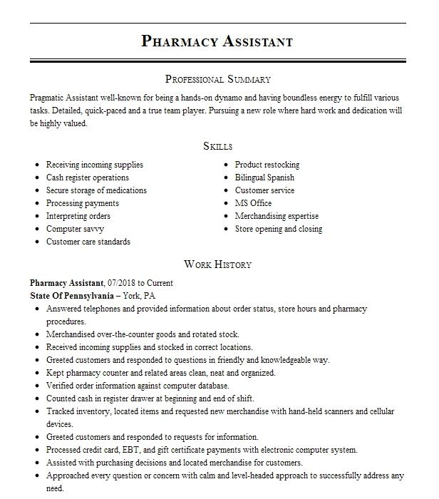 pharmacy assistant resume example introductory pharmacy