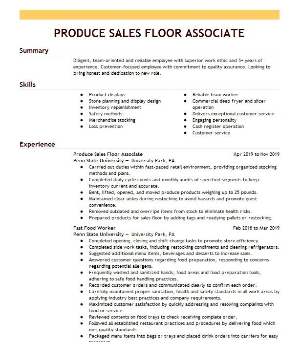 sales floor associate resume example kohl u0026 39 s