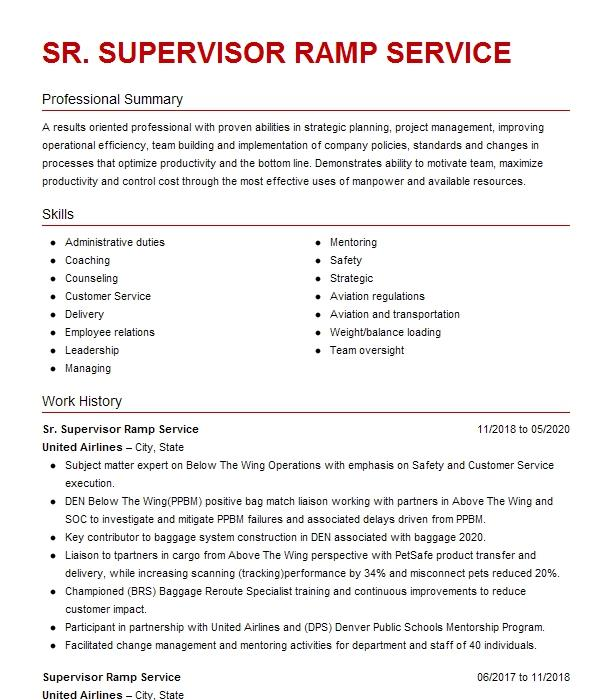 Ramp Supervisor Resume Example Southwest Airlines Middle