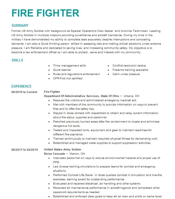 seasonal fire fighter 1 resume example cal fire monte