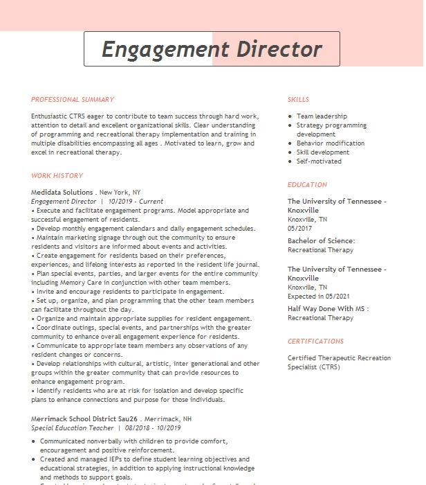 full engagement worker resume example department of