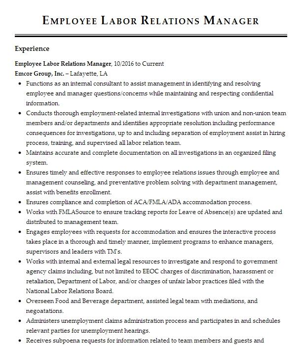 labor and employee relations specialist resume example federal energy regulatory commission