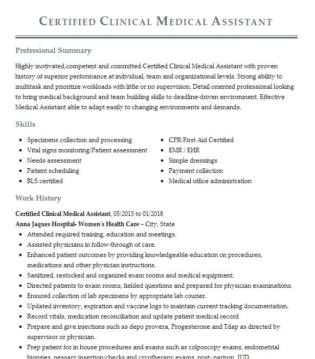 ccma certified clinical medical assistant resume example