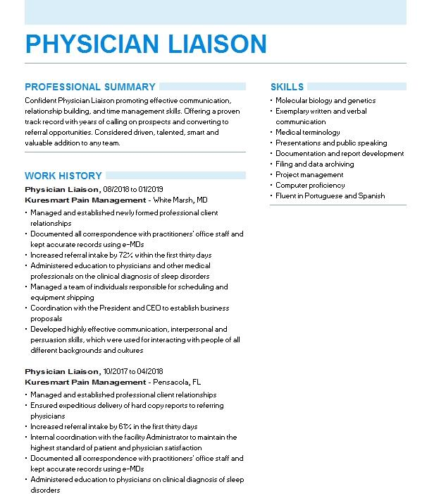 physician liaison resume example united home care